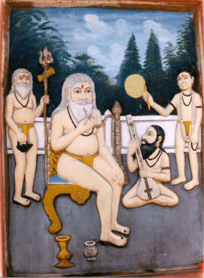 Wall painting in Śivāla (Benares) showing Bābā Kīnārām on his throne with his guru Kālūrām (left) and his disciples Bījārām and Jiyāvanrām (right)