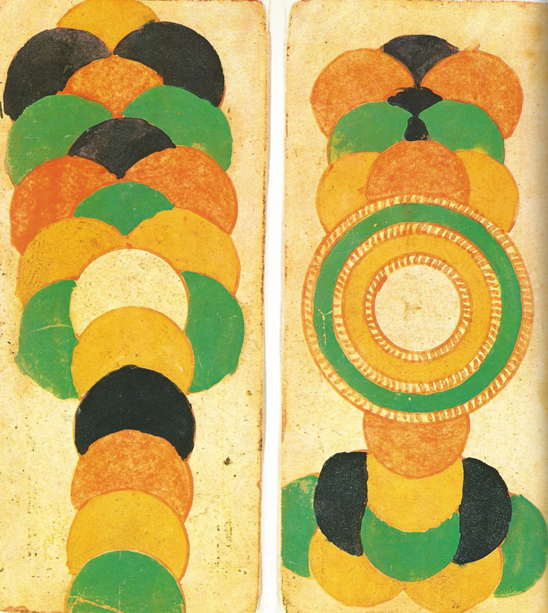 Two from a set of thirteen leaves from a manuscript illustrating the processes of projective evolution of the universe. Western India, c. 1700. Source: Philip Rawson, The Art of Tantra, London, 1973
